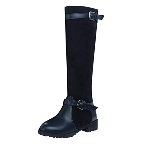 ◕‿◕ Loosebee◕‿◕ Women's Boots,Women's Knee High Buckle Winter Above The Knee Elegant Comfort Boots Lace Up Buckles Boots Blue (Justin Gypsy Girl Boots)