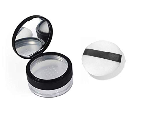 LASSUM 20ml (0.67 oz) Empty Refillable DIY Make up Loose Powder Container Case with Soft Sponge Puff, Mirror and Sifter Foundation Cosmetic Box (Best Loose Powder Foundation)