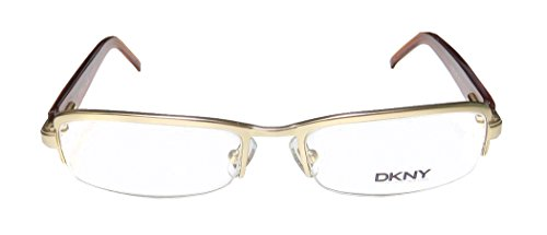 DKNY 5595 Womens/Ladies Designer Half-rim Flexible Hinges Eyeglasses/Spectacles (49-16-130, Gold / Glitter / - Goggles Dkny