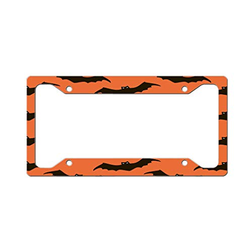 Style In Print Custom License Plate Frame Halloween Background Bats Aluminum Cute Car Accessories Wide Top Design Only Set of 2