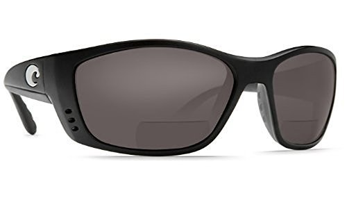 Black Plastic Grey Lens - Costa Del Mar Fisch C-Mates Polarized Bi-Focal Reading Glasses (Black with Grey Lens, 2.00)