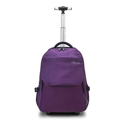 19 inches Large Storage Multifunction Waterproof Travel Wheeled Rolling Backpack by HollyHOME, Purple