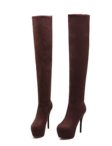 Botas Stiletto brown blue Tacón uk3 uk6 mujer Semicuero XZZ Casual 5 Punta cn35 eu39 cn39 Marrón us5 de eu36 Negro 5 Zapatos us8 Azul us8 uk6 cn39 Redonda brown eu39 WIqpIO0y