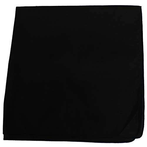 - Mechaly Solid Colors 100% Cotton Bandana (Black)
