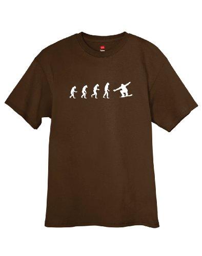 ShirtLoco Men's Evolution Of Man To Snowboarder T-Shirt, Dark Chocolate 2XL