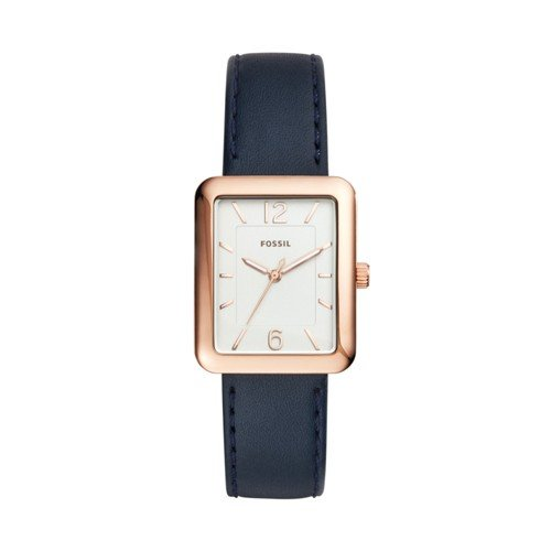 Fossil Women's ES4158 Atwater Three-Hand Navy Leather Watch