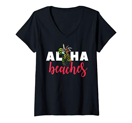 Womens Aloha Beaches Hawaii Summer Vacation Hawaiian Trip Tropical V-Neck T-Shirt (Best Luau In Honolulu 2019)