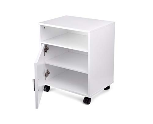 eMerit Wood Printer Fax Stand Work Storage Cart with Wheels for Home Office,White