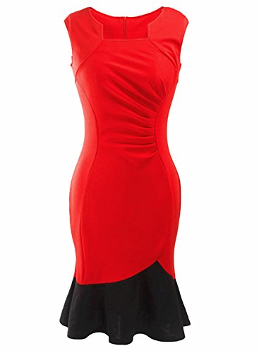 Wellwits Womens Square Mermaid Ruched