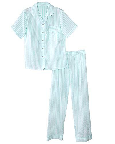 (National Woven Striped Pajamas, Aqua, Medium - Misses Short Sleeve)