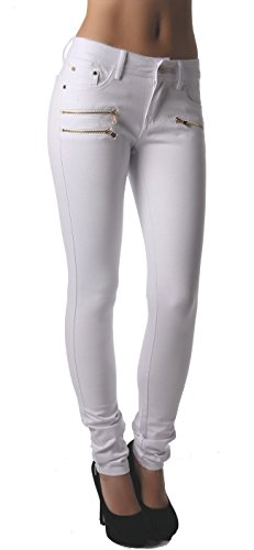 Hanches Jeggings Coupe Freyday Leggings Blanc Confortable Pantalon Stretch Slim Tendance qIqSwAF
