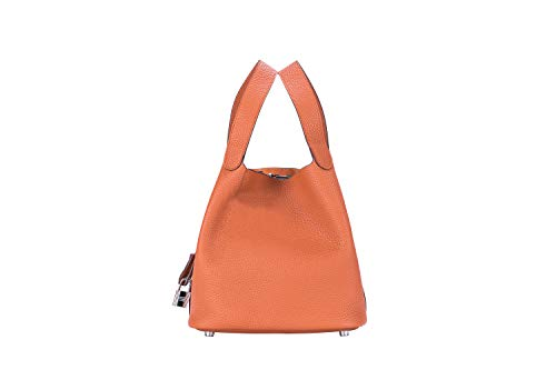 LUCKYSGY Women's Tote Bag Genuine Togo Leather Bucket Handbag Padlock Purse for Lady (Orange)
