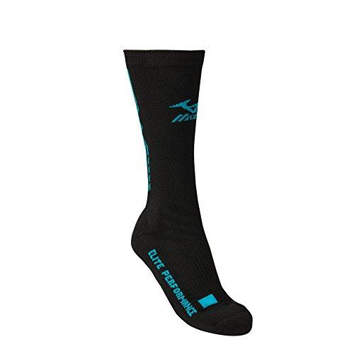 Mizuno Elite 9 Legacy Crew Sock, Black/Blue Diva, Large