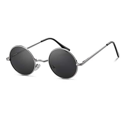 John Lennon Glasses Round Polarized Sunglasses Hippie Glasses for Women Men (silver frame grey lens) ()