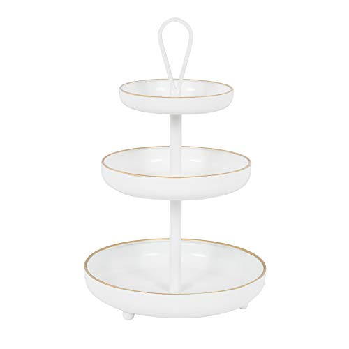 Kate and Laurel Worley Decorative 3 Tiered Cascading Metal Tray with Handle, White Enamel Finish with Gold Trim