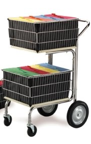 Charnstrom Compact Wire Basket Mail Cart with 2 File Baskets (M218) by Charnstrom