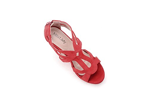 Open for Women Zippered Platform Strappy 2 Lady Lisa Toe Sandals Shoes 5 Heeled Mila Red Wedges wqgaXxTH