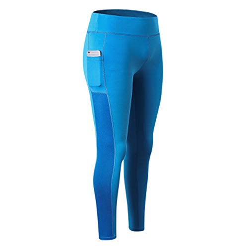 MLMYLZY Women's Yoga Trousers Side Pockets Fitness Running Elastic Tights Blue XXL=US/12 ()