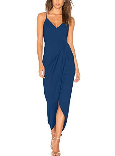 cmz2005 Women's Sexy V Neck Backless Maxi Dress Sleeveless Spaghetti Straps Cocktail Party Dresses 71729 (XL, Teal)