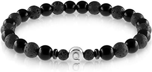 FABACH Echtsilber Partnerarmbänder aus 6mm Lava und Onyx Steinen mit 925 Sterling Silber Buchstaben Perle - Paar Perlenarmband mit Gravur als Freundschaftsarmband, Pärchen-Armband
