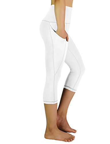 REETOYO Women's High Waisted Tummy Control Workout Yoga Capris Running Leggings Side Pockets, White, X-Large