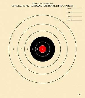 50 Foot Timed and Rapid Official NRA Target B-3 (Red, 100)