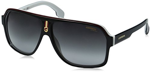 Carrera Men's Ca1001s Aviator Sunglasses, Black White/Dark Gray Gradient, 62 - For Men Sunglass Carrera