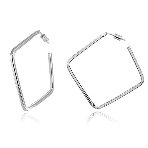 - Sterling Silver Polished Geometric Open Square Hoop Earrings