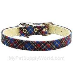 Mirage Pet Products 3/8-Inch Plaid Plain Dog Collar, Size 12, Blue