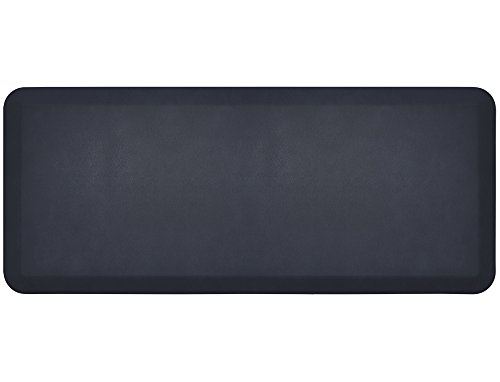 """NewLife by GelPro Anti-Fatigue Designer Comfort Kitchen Floor Mat, 20x48"""", Leather Grain Navy Stain Resistant Surface with 3/4"""" Thick Ergo-foam Core for Health and Wellness - Leather Bath Mats"""