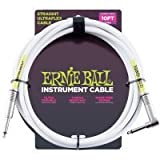 Ernie Ball Instrument Cable Straight/Angle White Jacket P06049 10FT. w/Bonus RIS Picks (x3) 749699160496