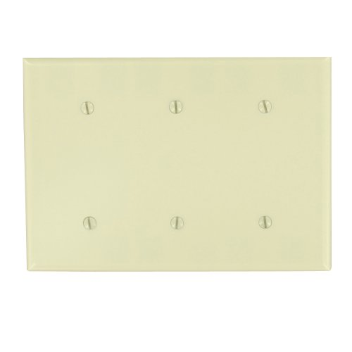 Leviton 86035 3-Gang No Device Blank Wallplate, Thermoset, Strap Mount, Ivory
