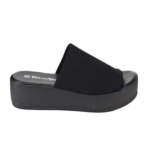 Nature Breeze Women's Stretchy Slip On Peep Toe Backless Platform Sandals,Black,6.5 (Sandal Stretch Slide)