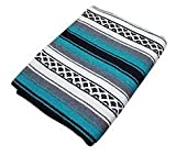 South West style blanket, tapestry or serape Hand Woven Acrylic (teal)