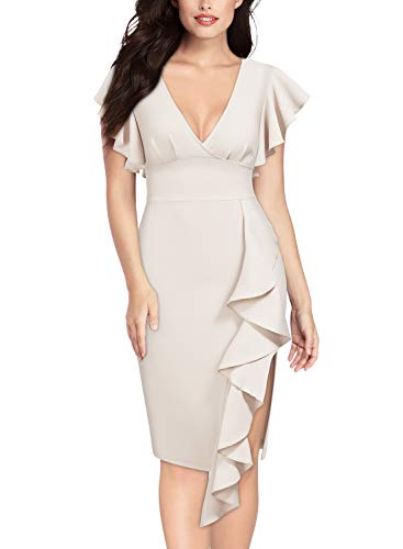 - Knitee Women's Deep-V Neck Ruffle Sleeves Cocktail Party Pencil Dress,X-Large,Beige