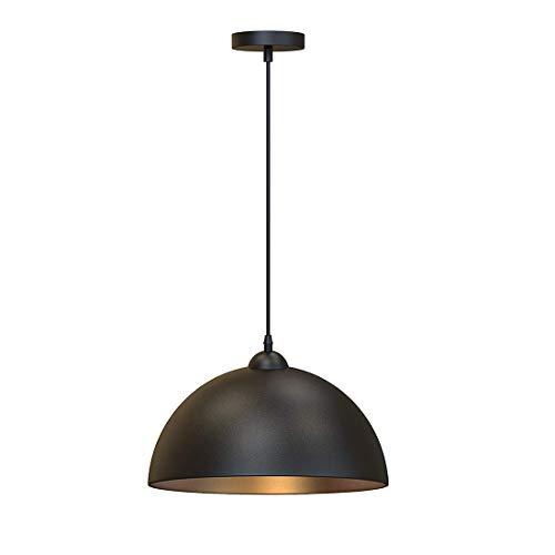 (Metcandy American Restaurant Chandelier Retro Industrial Style Hemisphere Design Wrought Iron Lampshade Single Head Pendant Light Bar Counter Corridor Balcony Ceiling Light E27)