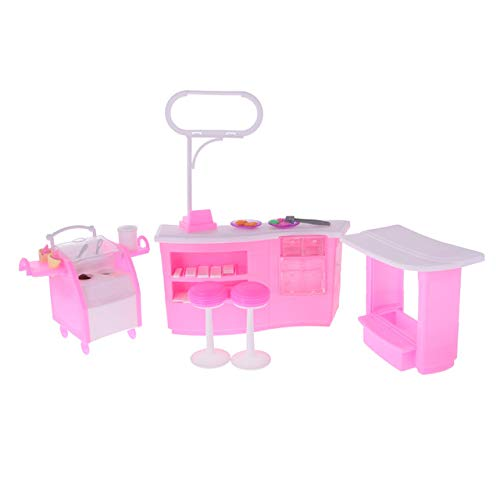 BeesClover Nuovo 1  6 Dollhouse Luxury Plastic Furniture Set da Gioco per Barbie Toy 1 6 Doll House Decor Accessori Clssic Toys for Kids Gift Ice Cream Shop