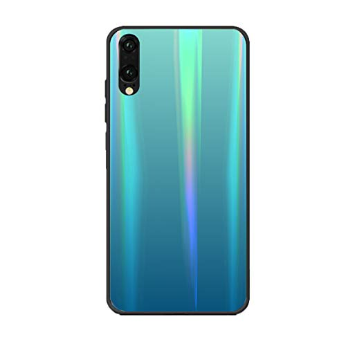 AIsoar Compatible with Huawei P20 Lite/Nova 3e Case,Laser Aurora Gradient Color Sparkle Bling Glitter Tempered Glass Case Soft Bumper Hard Back Slim Shockproof Protective Cover - Light Blue (Bling Dental Replacement Heads)