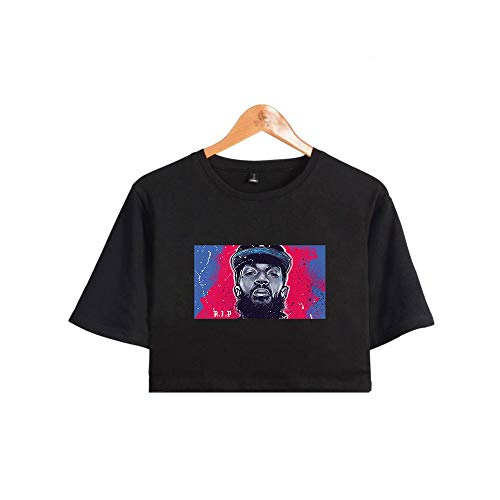 JIKF-shirt Hip Rapper Nipsey Hussle Women Crop Top Commemorative T-Shirt Black F XXL ()