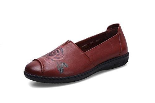 Primavera Marrón Trabajo De Bombas Señoras Fiesta Soft Otoño 38 Nueva Ocio Brown Nvxie Negro Eur Loafer 5 Únicos Rojo Antideslizante Comfort eur38uk55 Piel 5 Pisos uk Bottom Zapatos Genuina ZvRdHUq