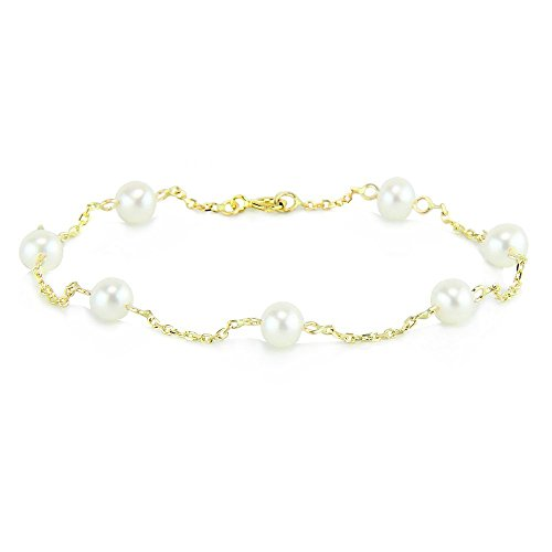 14K Yellow Gold Tin Cup Bracelet With Cultured Freshwater Pearls 7-8.5 Inch