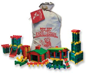 Made in The USA Age 3 Construction-Educational Toy Roy Toy Fun Colored Log Building Set 350 All Wooden Pieces