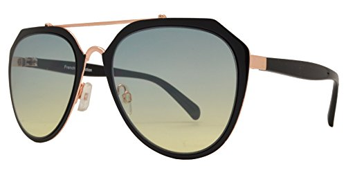 c67641878fd8 Fashion Eyelinks - Modern Metal Aviator Flat Top Sunglasses (Black Frame +  Green Yellow Lens