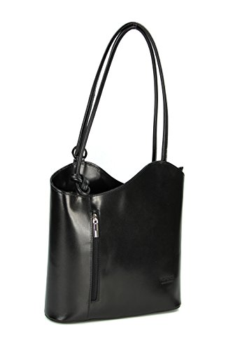 Italian Leather Bag Belli, Belli Backpack, Womens, Leather Backpack, In Different Colors, Thin-skinned, 28 X 28 X 8cm (width X Height X Depth) Black - Black