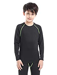 Happy Cherry Boys Thermal Base Layer Athletic Compression Shirt and Pants Set