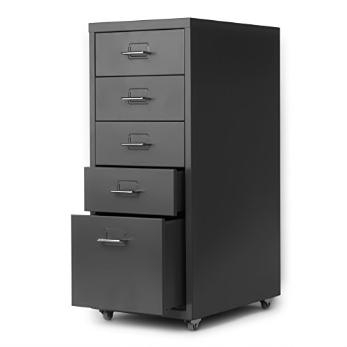 IKAYAA Office Steel File Cabinet 5 Drawers Detachable Mobile Metal Storage Cabinet with 4 Casters Office, Bedroom, Living Room Furniture
