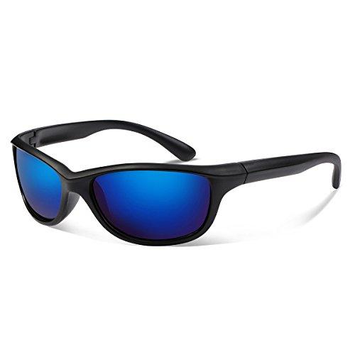 Occffy Polarized Sports Sunglasses For Men Women Durable Frame Sun Glasses For Driving Cycling Baseball Running Golf TR866 (866 black matte/blue)