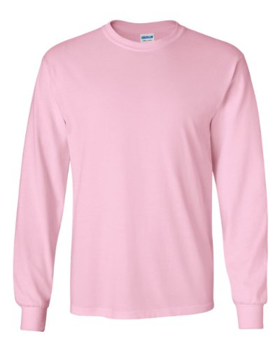 Gildan Adult L/S T-Shirt in Light Pink - - In Men S