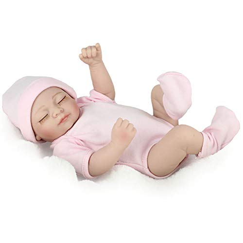 Mini Reborn Bebé Muñeca Niña Regalo Silicona Vinilo Completo Bebés Juguetes Realista Recién Nacido Rosa Mameluco...