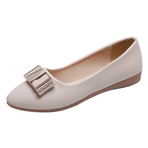 Sherostore ♡ Women Shoes Pointed Toe Women Flats Woman Flat Shoes Ballet Flats Ladies Slip On Flats Dress Shoes Beige